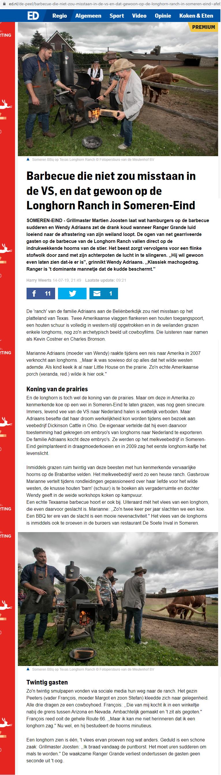 Artikel Eindhovens Dagblad BuitenEten 14-07-2019