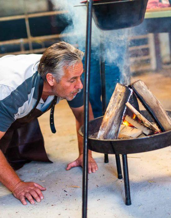 Vuur maken, koken op kampvuur, kookworkshop