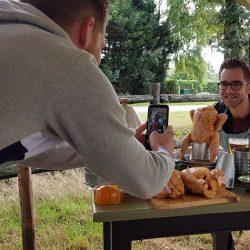 foto's maken met activiteit, kookworkshop , koken op kampvuur